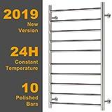 Hromee Wall Mounted Plug-in Straight Towel Warmer Electric Heated Drying Racks for Bathroom Stainless Steel 10 Bars Polished 100 Watt (20.7-Inch x 33.5-Inch)