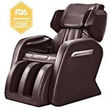 OOTORI Full Body Massage Chair, Zero Gravity Neck Back Legs and Foot Shiatsu Massager with Heat and Foot Rollers (brown)
