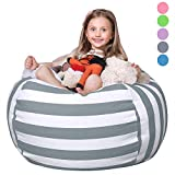 WEKAPO Stuffed Animal Storage Bean Bag Chair for Kids | 38' Extra Large Beanbag Cover for Child | 48' Quality YKK Zipper | Premium Cotton Canvas