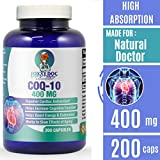 CoQ10 - Co-Enzyme Q10-400 mg - 200 Caps - Pure & High Absorption - Vegetable Capsules - Non-GMO - 100 Day Supply Heart & Cellular Energy by Foxxy Doc