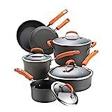 Rachael Ray 87375 10-Piece Hard Anodized Aluminum Cookware Set, Orange