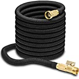 hospaip 50ft Garden Hose - All New Expandable Water Hose with Double Latex Core, 3/4' Solid Brass Fittings, Extra Strength Fabric - Flexible Expanding Hose with Storage Bag for Easy Carry