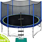 Zupapa 15 14 12 FT TUV Approved Trampoline with Enclosure net and Poles Safety Pad Ladder Jumping Mat Rain Cover, Blue