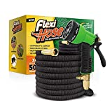 Flexi Hose & 8 Function Nozzle, 50 FT Lightweight Expandable Garden Hose | No-Kink Flexibility - Extra Strength with 3/4 Inch Solid Brass Fittings & Double Latex Core | Rot, Crack, Leak Resistant