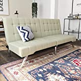 DHP Emily Futon Sofa Bed, Modern Convertible Couch With Chrome Legs Quickly Converts into a Bed, Rich Vanilla White Faux Leather
