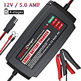BMK 12V 5A Smart Battery Charger Portable Battery Maintainer with Detachable Alligator Rings Clips Fast Charging Waterproof Trickle Charger for Car Boat Lawn Mower Marine Sealed Lead Acid Battery
