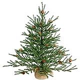 Vickerman Unlit Carmel Pine Artificial Christmas Tree Artificial Pine Cones Comes in Burlap Base, 24'
