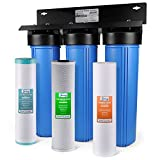 "iSpring WGB32BM 3-Stage Whole House Water Filtration System w/ 20"" x 4.5"" Big Blue Sediment, Carbon, and Iron & Manganese Reducing Filters"