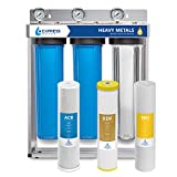 """Express Water Heavy Metal Whole House Water Filter – 3 Stage Whole House Water Filtration System – Sediment, KDF, Carbon Filters – Includes Pressure Gauges, Easy Release, and 1"""" Inch Connections"""