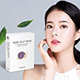 SKEDERM Snail Jelly Face Mask Sheet with Snail Secretion Filtrate 5,000ppm for Deep Moisturizing, Pack of 10