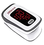 Fingertip Pulse Oximeter, Blood Oxygen Saturation Monitor (SpO2) with Pulse Rate Measurements and Pulse Bar Graph, Portable Digital Reading LED Display, Batteries and Carry Case Included