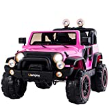 Uenjoy Ride on Cars 12V Children's Electric Cars Motorized Cars for Kids with Remote Control, 3 Speeds, Head Lights, Pink