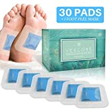 Foot Pads for Cleansing - with Foot Mask - 30 Cool Mint Bamboo Vinegar Feet Patches - All Natural Ingredients, FDA Certified, Strong Adhesive, No Sticky Residue, 2 in 1 Pad Design
