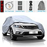 KAKIT 5 Layers Car Cover SUV Cover - Waterproof Windproof Cover for Indoor Outdoor, Rain, Dust, Ice, Sun All Weather Cover for Car, Windproof Ribbon & Anti-Theft Lock, Fits up to 210' SUV
