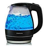 Ovente Electric Glass Kettle 1.5 Liter Water Boiler & Tea Heater with Heat Tempered Borosilicate Glass, BPA-Free, 1100 Watts Fast Heating, Auto Shutoff and Boil Dry Protection, Black (KG83B)