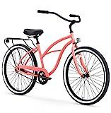 sixthreezero Around The Block Women's Single Speed Cruiser Bicycle, Coral w/ Black Seat/Grips, 26' Wheels/17' Frame