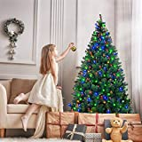 Goplus Artificial Christmas Tree Premium Spruce Hinged Tree with LED Lights and Solid Metal Stand, UL-Certified Transformer (6.5ft, 1200 Branch Tips, 650 Lights)