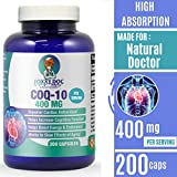 CoQ10 - Co-Enzyme Q10-400 mg per 2 Caps Serving - 200 Caps - Pure & High Absorption - Vegetable Caps - Non-GMO - 100 Day Supply Heart & Cellular Energy by Foxxy Doc