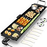 Costzon 35' Electric Teppanyaki Table Top Grill Griddle BBQ Barbecue Nonstick Extra Large Griddle Electric for Camping Indoor Outdoor with Adjustable Temperature