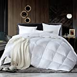Luxurious Full / Queen Size Siberian Goose Down Comforter, Duvet Insert, 1200 Thread Count 100% Egyptian Cotton, 60 oz. Fill Weight, 1200TC, White Solid