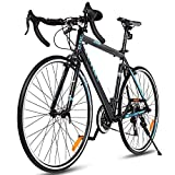 Goplus Commuter Bike Road Bike Quick Release Aluminum 700C 21 Speed (Black)