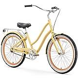 sixthreezero 630173 EVRYjourney Women's Single Speed Step-Through Hybrid Cruiser Bicycle, 26' Wheels and 17.5' Frame, Cream with Black Seat and Grips