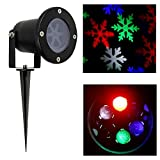 Laser Christmas Lights - Outdoor Landscape Lights Show Snowflakes with Color of White, Red, Green and Blue IP65 Waterproof LED Lights