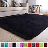 PAGISOFE Soft Kids Rug Nursery Decor Bedroom Living Room Carpet 4' x 5.3',Black