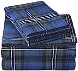 Amazon Brand – Pinzon Plaid Flannel Bed Sheet Set - Queen, Blackwatch Plaid