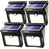 ZOOKKI Solar Lights Outdoor, 28 LED Wireless Motion Sensor Lights, IP65 Waterproof Wall Light Easy-to-Install Security Lights for Outdoor Garden, Patio, Yard, Deck, Garage, Driveway, Fence 4 Pack