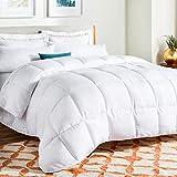 LINENSPA All-Season White Down Alternative Quilted Comforter - Corner Duvet Tabs - Hypoallergenic - Plush Microfiber Fill - Machine Washable - Duvet Insert or Stand-Alone Comforter - Oversized Queen