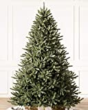Balsam Hill 7.5ft Premium Unlit Artificial Christmas Tree Classic Blue Spruce with Storage Bag, and Fluffing Gloves