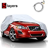 """KAKIT 5 Layers Universal SUV Cover Waterproof All Weather Heavy Duty Sun Protection Scratch Resistant for Automobiles Outdoor(Up to 210"""")"""