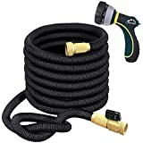 TheFitLife Flexible and Expandable Garden Hose - Triple Latex Core with 3/4 Inch Solid Brass Fittings and 8 Function Spray Nozzle, Portable and Kink Free Water Hose (25 FT)