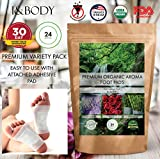Bamboo Vinegar Foot Pads by I&Body | 24 Premium Foot Pads | 100% Organic for Body Relief & Relaxation | Improve Sleep & Circulation | Lavender & Rose Aroma | FDA Certified | Buy 2 Save 10%