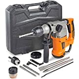 """VonHaus 1-3/16"""" SDS-Plus Heavy Duty Rotary Hammer Drill 10 Amp - Vibration Control, 3 Functions - With Drill Demolition Kit, Grease, Chisels, Drill Bits and Case – Suitable for Concrete, Wood, Steel"""