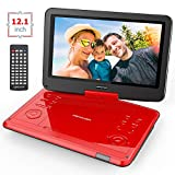 """DBPOWER 14.4 """" Portable DVD Player with Long Lasting Built-in Rechargeable Battery, 12.1' Swivel Screen, Supports SD Card and USB, 1.8M Car Charger and 1.8M Power Adaptor (Red)"""