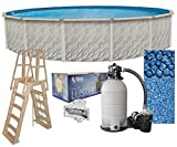 Meadows 15-Foot-by-52-Inch Round Above-Ground Swimming Pool Complete Bundle Kit | Boulder Swirl Pattern Overlap Liner | A-Frame Ladder System | Filter Tank | 1 HP Pump | Wide-Mouth Skimmer