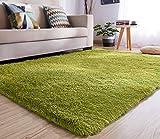 YJ.GWL High Pile Velvet Bedroom Living Room Rug (47' x 63'), Extra Soft & Easy Clean Large Shaggy Area Rugs, Plush Carpet for Kids Nursery Room Decor, Green