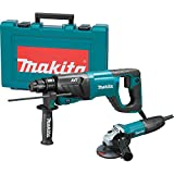 Makita HR2641X1 SDS-PLUS 3-Mode Variable Speed AVT Rotary Hammer with Case and 4-1/2' Angle Grinder, 1'