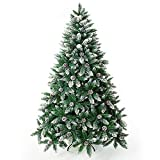 Senjie Artificial Christmas Tree 5/6/7/7.5/8/9 Foot Flocked Snow Trees Pine Cone Decoration Unlit (7 Foot Upgrade)
