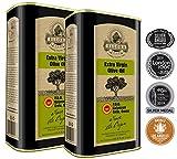 Ellora Farms | Global Award Winner | Single Estate Traceable Extra Virgin Olive Oil | Cold Pressed | Certified PDO Kolymvari | Harvested in Crete, Greece | Kosher OU | 1 Lt (33.8 oz) Tins | Pack of 2