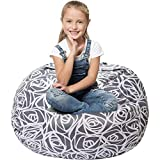 5 STARS UNITED Stuffed Animal Storage Bean Bag - Cover Only - Large Beanbag Chairs for Kids - 90+ Plush Toys Holder and Organizer for Girls - 100% Cotton Canvas - Gray Roses