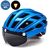 VICTGOAL Bike Helmet for Men Women with Safety Led Back Light Detachable Magnetic Goggles Visor Mountain & Road Bicycle Helmets Adjustable Adult Cycling Helmets (Black Red)