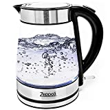 Zeppoli Electric Kettle - Glass Tea Kettle (1.7L) Fast Boiling and Cordless, Stainless Steel Finish Hot Water Kettle – Hot Water Dispenser - Glass Tea Kettle, Tea Pot Water Heater