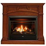Duluth Forge, Heritage Cherry Dual Fuel Ventless Gas Fireplace-26,000 BTU, Remote Control, Finish