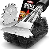 GRILLART Grill Brush and Scraper 18 Inch - Wire Bristle Brush Double Scrapers - Barbecue Cleaning Brush for Gas/Charcoal Grilling Grates - Universal Fit BBQ Grill Accessories