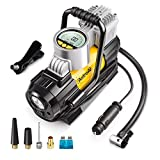 AstroAI Portable Air Compressor Pump, Digital Tire Inflator 12V DC Electric Gauge with Larger Air Flow 35L/Min, LED Light, Overheat Protection, Extra Nozzle Adaptors and Fuse, Yellow
