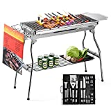 Glotoch BBQ Grill Tool Set Express Portable Stainless Steel Charcoal Barbecue Grill with 20pc Heavy Duty BBQ Grill Tool Set with Cooler Bag for Men in Aluminum Case