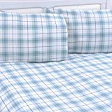 Mellanni Queen Flannel Sheet Set - 4 pc Printed Luxury 100% Cotton - Lightweight Bed Sheets - Cozy, Soft, Warm, Breathable Bedding - Deep Pockets - All Around Elastic (Queen, Plaid Blue – Green)